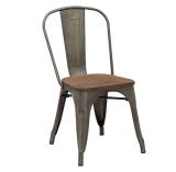Barato industrial empilable retro café vintage metal de hierro comedor silla