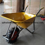 Wheelbarrow pintado amarelo Wb6404h da capacidade da bandeja 85L com a roda grande do ar