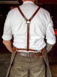 十字の背部ストラップが付いているカスタム高品質のデニムの理髪師のエプロン