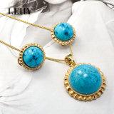 Jogo de pedra sintético colorido Gold-Tone da jóia da coleção da forma de Necklace&Earring da indicação