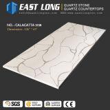 Pedra personalizada de quartzo de 3200*1600 Aartificial Calacatta para partes superiores da vaidade