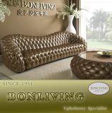 Sofá luxuoso do couro da sala de visitas de Corlor do ouro (B6)