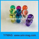 Contactos magnéticos del empuje de Whiteboard del neodimio colorido revestido plástico