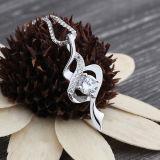 Collana Pendant di cristallo dell'intarsio dell'argento sterlina delle donne 925 con la catena