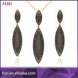 El micr3ofono de la joyería de Foxi pavimenta el conjunto de cobre amarillo del pendiente y del colgante