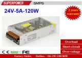 Fonte de alimentação do interruptor do excitador 24V5a 120W do diodo emissor de luz para a iluminação do diodo emissor de luz
