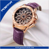 Reloj delicado de la correa de cuero de las mujeres del diamante único especial