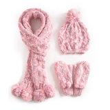 Reeks van de Hoed van de Dekking van de Tik van de Handschoenen van de Sjaal POM Beanie van de Draai POM van de Kabel van de Winter van de Dames van de Meisjes van de Kinderen van vrouwen de Unisex-3PC Lange (SK123S)