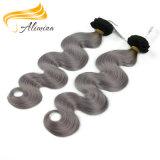 100つの灰色の人間の毛髪ボディ波のOmbreの毛の拡張