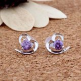 Zircon Heart-Shaped dell'intarsio degli orecchini dell'argento sterlina di modo 925 delle donne