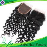 卸し売り安い価格のブラジルの人間の毛髪の手によって結ばれるレースの閉鎖