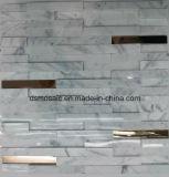 Azulejo de mosaico de mármol de la tira con la superficie quebrada o adentro y hacia fuera