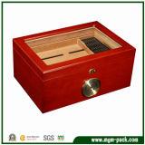 Caixa de charuto lustrosa elevada feita sob encomenda da madeira contínua da fabricação