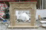 Mensola del camino di marmo beige Sy-Mf323 del camino intagliata mano crema beige dell'Egitto