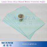 Papel de impressão transparente azul de transferência do decalque do lado da água do laser