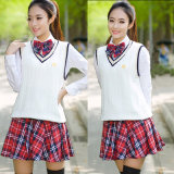 Alta calidad encantadora agraciada del uniforme del estudiante de la muchacha del OEM de las mujeres coreanas clásicas del uniforme escolar