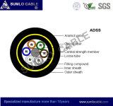 24cores todo o cabo de fibra óptica aéreo de Dieletric ADSS na linha eléctrica, G652. Única modalidade de D