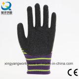 перчатки черноты вкладыша полиэфира нашивки 13G покрынные латексом работая (L005)