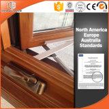 Fenêtre de qualité insonorisée Fenêtre battante américaine avec poignée de manivelle pliable Bois en chêne massif plaqué d'aluminium