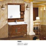 Suelo antiguo que coloca vanidades del cuarto de baño de madera sólida