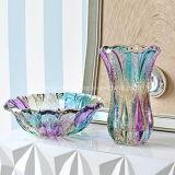 De lange Vaas van het Gebrandschilderd glas voor Bloem, de Decoratie van het Huis