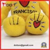 Urso da peluche do amarelo do fabricante do urso da peluche de China com coração do bordado