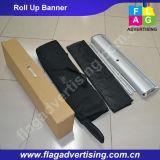O cabo flexível retrátil durável rola acima a bandeira com carrinho de alumínio