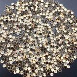 Rhinestones cristalinos bordeados anillo plateados de oro de Flatback para la decoración del teléfono celular (zafiro HF-ss20)