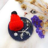 Brooch pequeno feito malha vermelho de Jean do Rhinestone dos óculos de sol do chapéu POM Poms