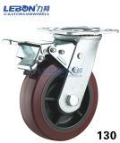 Echador plateado cinc resistente de la rueda del poliuretano del eslabón giratorio