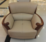 Sofá de madeira, sofá de couro, sofá da combinação, sofá de China (A59)