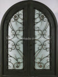 Classical Full Round Top Wrought Iron Double Entrance Doors for Villa