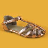 Sandali bassi dei pattini degli appartamenti del tallone della cinghia del Brown Ankel delle donne per la signora