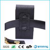 Caisse en cuir verticale de téléphone de poche d'étui de clip ceinture