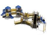 114mm galvanisierte Pfosten-bunte luxuriöse Zeile Dach und Knochen-Brücken-Kind-im Freienspielplatz-Gerät