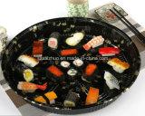 Bandeja plástica descartável impressa floral redonda do sushi da classe superior (S63R)