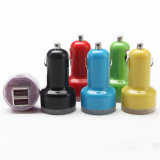 Portable 5V 3.1A coloridos ABS cargador de doble puerto USB coche con luz LED