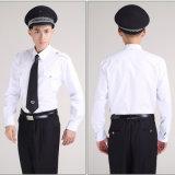 Jogos brancos do uniforme do protetor de segurança das camisas do algodão e das calças do preto