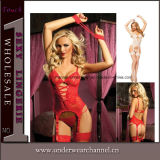 Mulheres Seamless Transparente Strappy Baby Doll Lingerie Sexy Teddy (TEB645)