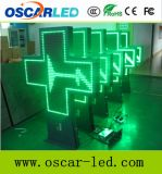 Muestra de aluminio de la cruz de la farmacia del color verde 3D LED de P10 P16 P20