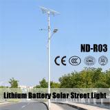O dobro arma a lâmpada de rua solar com o Q235 pólo claro (ND-R03)