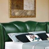 Grüne Farben-Leder-weiche Bett-Ausgangshotel-Möbel-Wohnzimmer-Schlafzimmer-Set-moderne Möbel, Fb3070