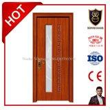 Modèle en bois moderne de porte principale de PVC avec la glace