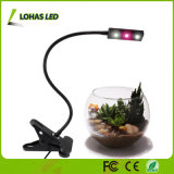 LED-Pflanze wachsen mit Schreibtisch des Sprung-3W wachsen Lampe mit Sprung-Schelle und dem Gooseneck-Arm für Innenpflanze hell