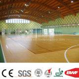 Modelo de madera 6.5m m del arce del baloncesto del PVC del rodillo de interior usable del suelo
