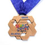 Medaglia su ordinazione all'ingrosso del premio di sport dell'argento dell'oggetto d'antiquariato del metallo della Corea Jiu-Jitsu