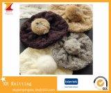 Cappello di Brett delle lane lavorato a maglia Customed di modo con la sfera della pelliccia del coniglio