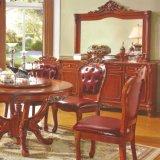 Tabella pranzante di legno con la presidenza di legno per la mobilia della sala da pranzo