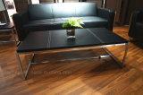 Klassischer lederner Tee-Tisch mit Edelstahl-Rahmen (S210)