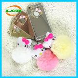 Caixa traseira de galvanização da esfera da pele do coelho do espelho para o iPhone 7/6s/6